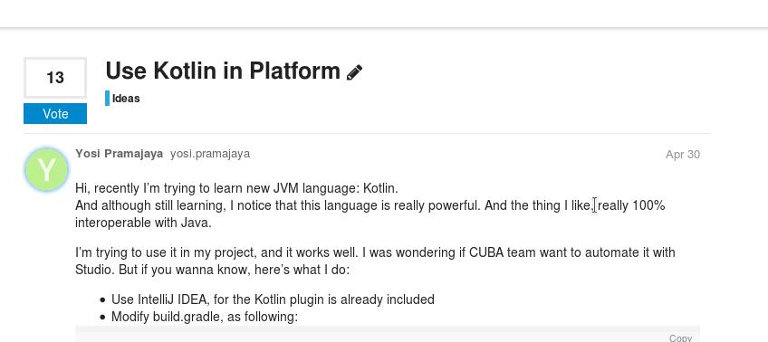 Use Kotlin in Platform - Ideas - CUBA Platform