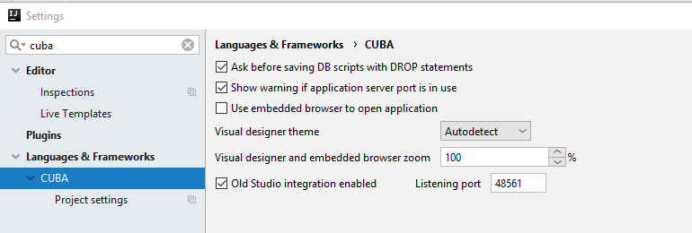 Unable to connect to the IDE  Check if the IDE is running and CUBA
