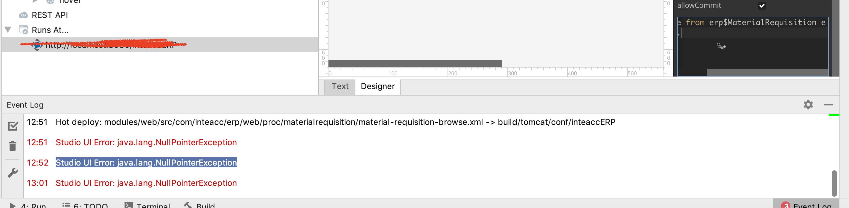 Studio UI error : java lang NullPointerException - Support