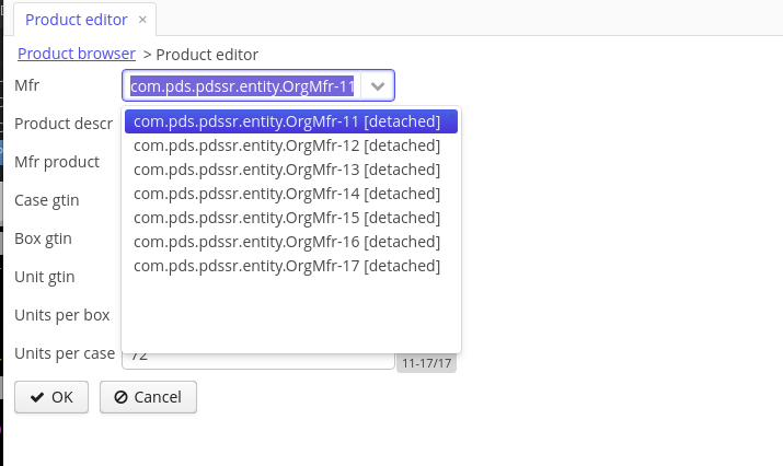 Create a pulldown for a foreign key in edit mode with a key